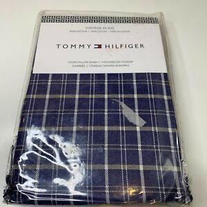 Tommy Hilfiger 1 euro pillow sham vintage plaid 100% cotton blue NWTs t2-7