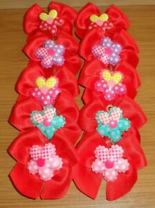 10 Hand Tied Red Grooming Bows FLOWER Centre