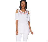 Belle By Kim Gravel 1X White TripleLuxe Knit Embroidered Top w/ Cut Outs A303492