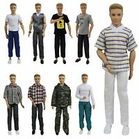 5Set Fashion Wear Doll Clothes Outfits Lot Tops Shirt Pants For 12inch Boy Doll