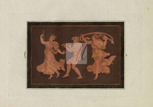ETRUSCAN Decoration Musician and Dancers Hamilton Engraving 1785 #D929