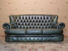 Divano Chesterfield 3 Posti Originale Inglese in Pelle Verde Antico
