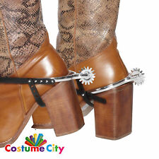 Adults Wild West Cowboy Boot Spurs Western Fancy Dress Costume Accessory