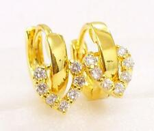 fashion1uk Love Charm Cubic Zirconia 24K Yellow Gold Plated Tiny Hoop Earrings