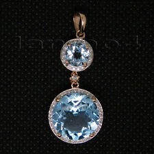 Solid 18kt Rose Gold Natural Diamond Round Cut Blue Topaz Engagement Pendant