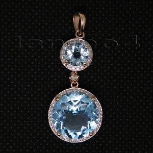 Solid 18kt Rose Gold Natural Diamond Round Cut Blue Topaz Engagement Pendant