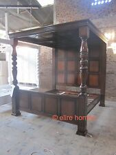 TUDOR style Four Poster Mahogany wooden canopy Jacobean Enlish panelled roof bed