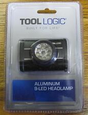 NEW Tool Logic 9 LED Aluminum Body Head Lamp Headlamp Adjustable Strap LED-001