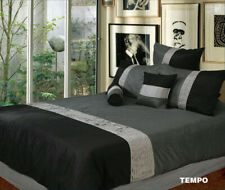 Phase 2 Tempo Black & Silver KING Quilt Doona Cover Set + 1 Neck Roll