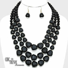 CLEARANCE VERSATILE SUPER CHUNKY BLACK BEADED NECKLACE JEWELRY SET CHIC TRENDY