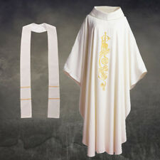 God Embroidered Catholic Church Priest Pastor Chasuble Vestments Robe W/stole