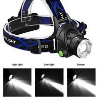 15000LUM XM-L T6 LED USB Zoom Focus Linterna Cabeza Luz Frontal LÁMPARA 2x 18650