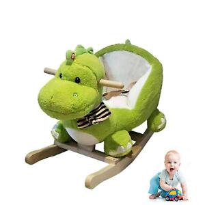 Wooden Plush Dinosaur Rocking Toddler Baby Ride On Rocker Play Toys W/ Music UK