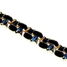 Bracelet chic couleur or émail noir et bleu 20cm bijou necklace