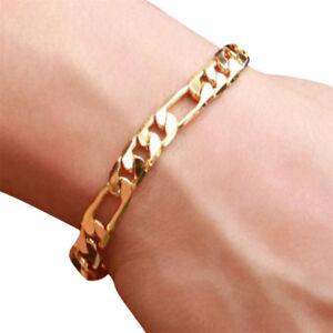 18K Gold Plating Women Men Bracelet Curb Figaro Chain Fashion Bangle Jewelry New