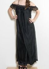 Intime' of CA Feminine Long Black Nightgown Lingerie Size S, Vintage (RF730)