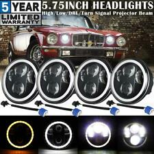 "4PCS 5.75"" 5-3/4"" Round LED Headlights Halo DRL Hi-Lo DOT Projector Beam H4-H13"
