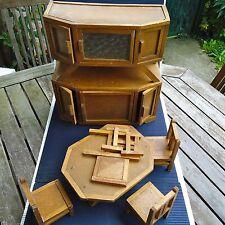 Buffet /Table/Chaises Miniature Bois 34x 33 x 13 Cm Poupée Fabric. Signée France
