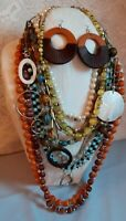 Vintage estate costume jewelry necklace lot fall theme glass beaded 12 pc