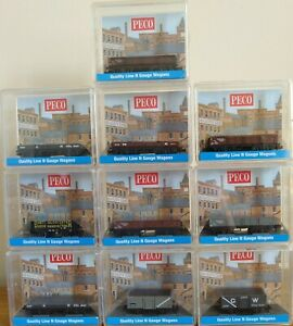 Peco N Gauge Collection of Ferry Tube, Bolster, 5 Plank and Steel open Wagons