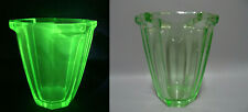 Vintage Art Deco Bohemian Vase Art Solid Faceted Green Uranium Vaseline Glass