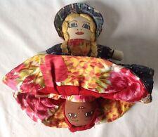"Vintage Topsy Turvy Cloth Doll Hand Painted Faces Mammy Goldilocks 10"""