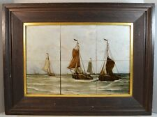 Antique Rozenburg Art Pottery Tile Painting of Ships