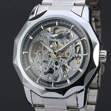 Winner Automatic Stainless Steel Case & Strap Skeleton Silver Watch