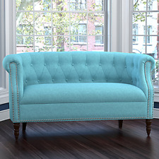 Blue Tufted Loveseat English Accent Wood Living Room Furniture Settee Sofa Chair