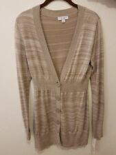 NWT Liz Lange Maternity Size S Beige Sweater Long Button Strip