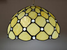TIFFANY STAINED GLASS JEWELLED PENDANT LIGHT SHADE