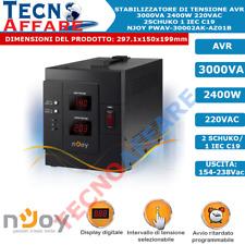 Stabilizzatore di Tensione 3000VA Filtro AVR Display Digitale 2400W Njoy Akin