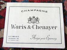 tarif 1955 CHAMPAGNE WARIS & CHENAYER, près d'Epernay