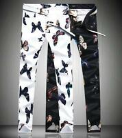 Mens Chinese Printed Floral Butterfly Nightclub Cotton Slim Pants Trousers