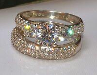 2.56ct Three Solitaire Diamond Engagement Ring Wedding Band 14k White Gold