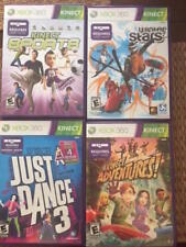 XBOX 360 KINECT  4 GAMES: Winter Stars, Sports, Kinect Adventures, just dance 3