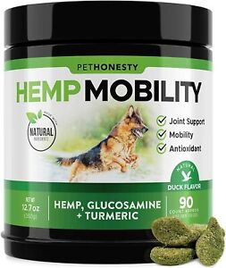 Hip Joint Dog Supplement Treats w/ Hemp Oil & Powder + Glucosamine Turmeric 90ct