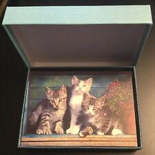 Box Of 15 Kitten Kitty Cat Note Cards Envelopes Stationary Paper Office Blank