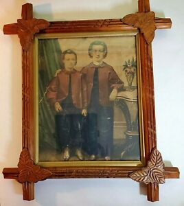 "Adirondack Wood Leaf Frame with Vintage Lithograph ""The Little Brothers"""