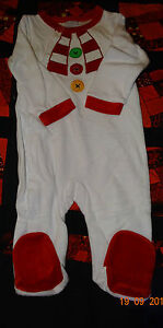 Snowman Baby Grow/Sleep Suit. Really Cute, Great For Christmas 3/6 & 9/12 months