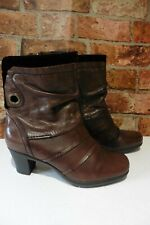 EARTH SPIRIT BROWN SOFT LEATHER ANKLE BOOTS VELOUR TRIM SIZE UK 6 / 39 R28