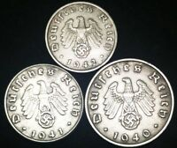 Authentic German WWII Rare Coin Set 1 Pf, 5Pf,& 10Pf Coins Historical Artifacts