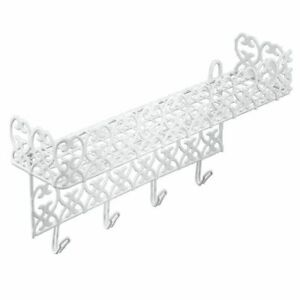 WHITE MULTIPURPOSE KITCHEN AND BATH CLOTH HOOK AND STORAGE RACK