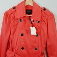 [ PORTMANS ] Womens Trench Coat Jacket in Coral NEW | Size AU 14 or US 10