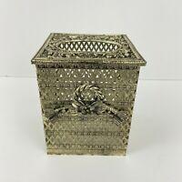 VINTAGE Kleenex Tissue Holder Box Gold Tone Filigree Hollywood Rope with Flower