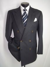 """Kiton Napoli Gray Striped Double Breasted Wool Vtg Suit 40 R~Pants 34""""W x 29""""L"""