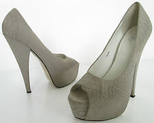 RIVER ISLAND SIZE 5 WOMENS BEIGE SNAKESKIN PEEPTOES COURT SHOES HEELS PLATFORMS