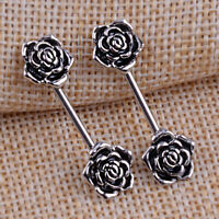 1 Paar Edelstahl Nippel Ring Engel Flügel und rose Blume Langhantel, Mode