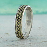 Band Vintage Two Tone Solid 9k Yellow Gold And 925 Sterling Silver Ring Size