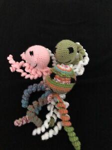 3 Handmade Crocheted Octopus Baby Toys